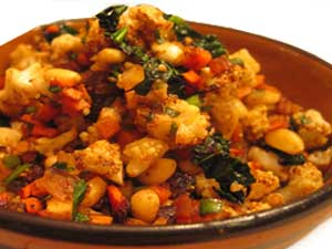 Cauliflower & spinach stir fry