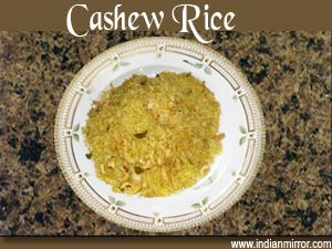 Microwave Cashew Rice from indianmirror.com