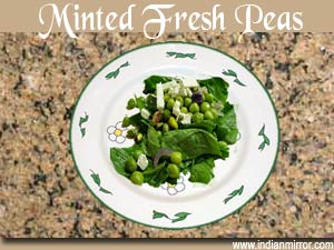 Minted fresh peas a microwave recipe